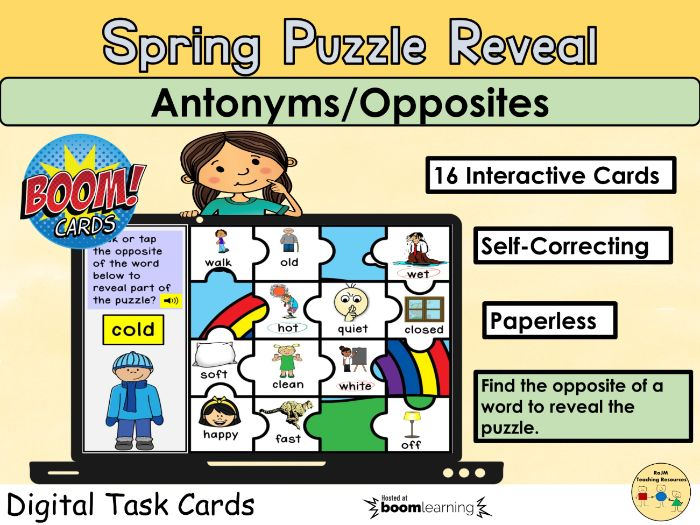Antonyms Opposites Vocabulary Puzzle Spring Rainbow BOOM Cards™ Distance Learning