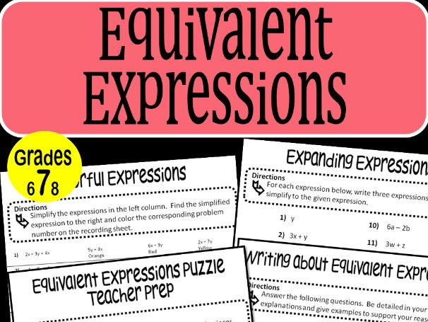 Equivalent Expressions Math Stations