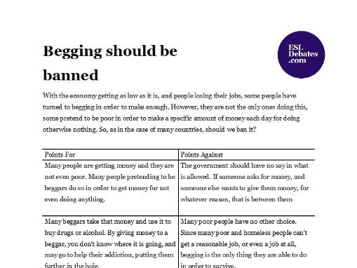 Debate Lesson Plan - Begging should be banned