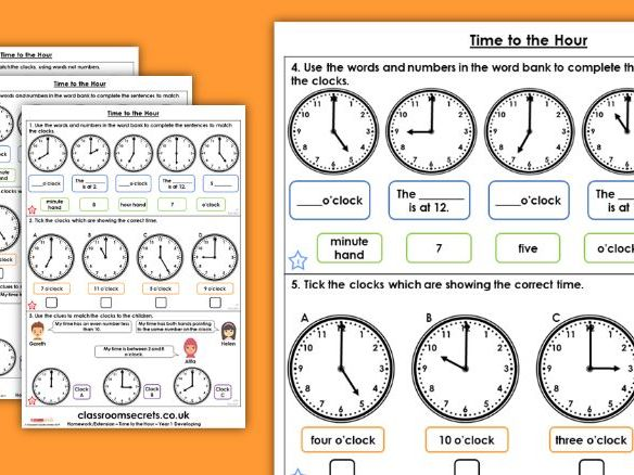 Year 1 Time to the Hour Summer Block 6 Maths Homework Extension