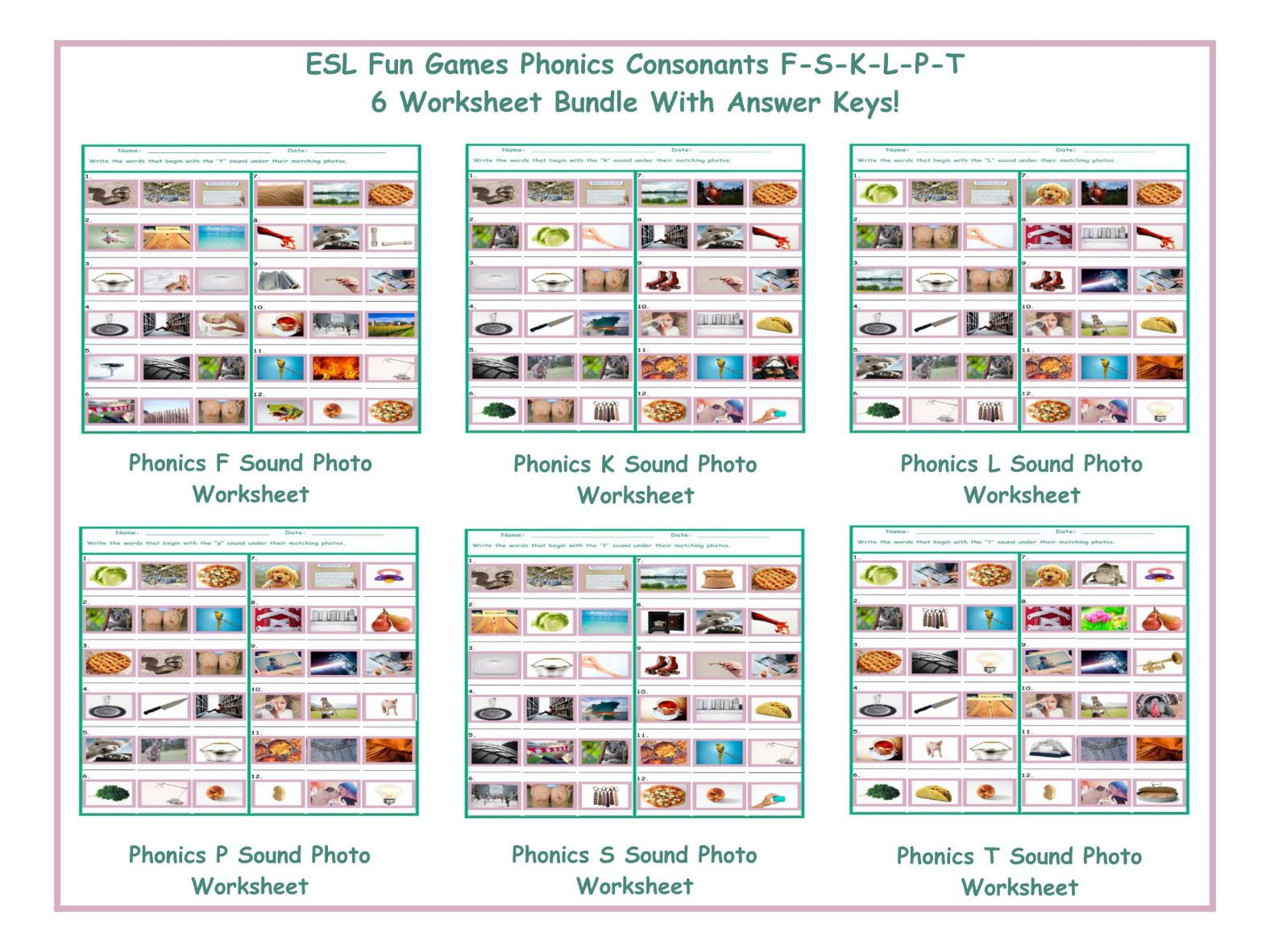 Phonics L Sound Photo Worksheet By Eslfungames Teaching Resources