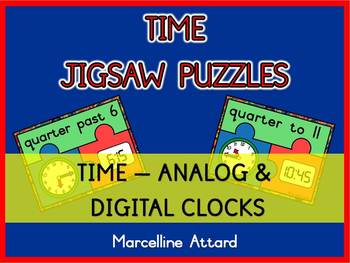 TELLING TIME ACTIVITIES(QUARTER HOUR): TIME PUZZLES(ANALOG & DIGITAL TIME CENTER)