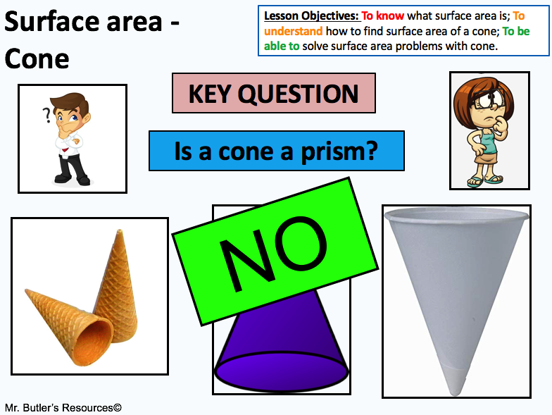 Surface area of a cone - without using Pythagoras theorem.