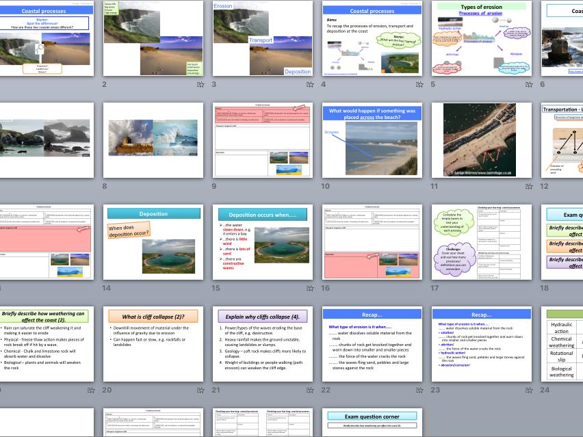 Coastal processes - hydraulic action, abrasion, attrition, solution