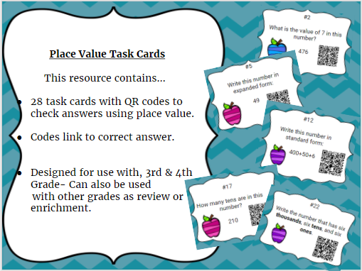 Years 3 and 4 Place Value Task Cards with QR Codes