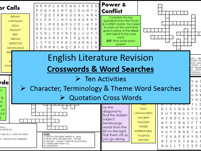 English Literature Revision Crosswords & Word Searches (GCSE Texts)