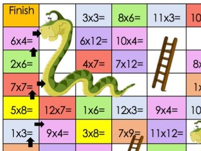 Snakes and ladders times table challenge mixed