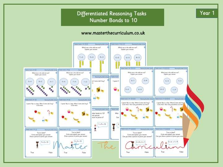 Year 1 Number Bonds to 10- Differentiated reasoning questions