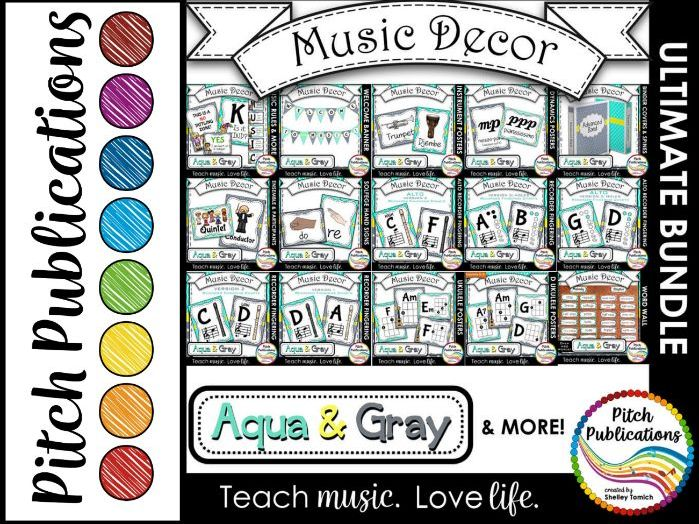 Music Decor BUNDLE - AQUA AND GRAY - posters, word wall, class rules, binders