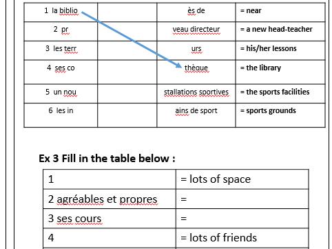 Une description de mon collège : a worksheet practising relevant vocab and phrases.