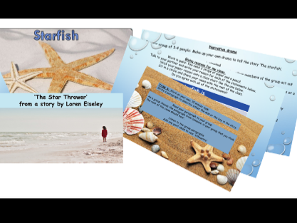 PSHE and Drama: The Starfish KS1 and KS2 powerpoint lesson, story and activities.