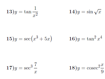 Derivatives of trigonometric functions worksheet (with solutions)
