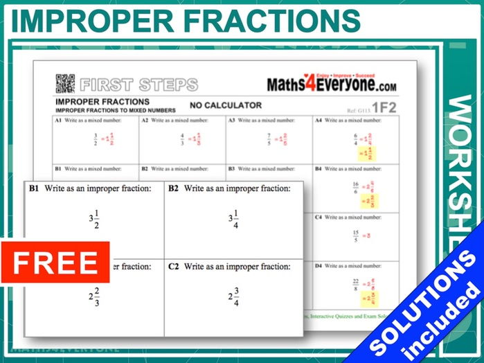 Improper Fractions (with Answers)
