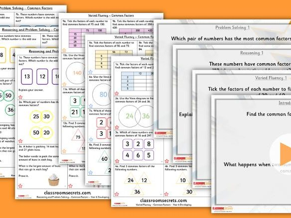 Year 6 Common Factors Autumn Block 2 Step 9 Lesson Pack