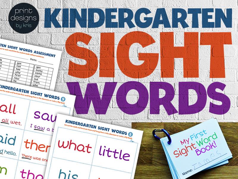 Kindergarten Sight Words Flip Book Wall Cards Assessment List Award Certificate