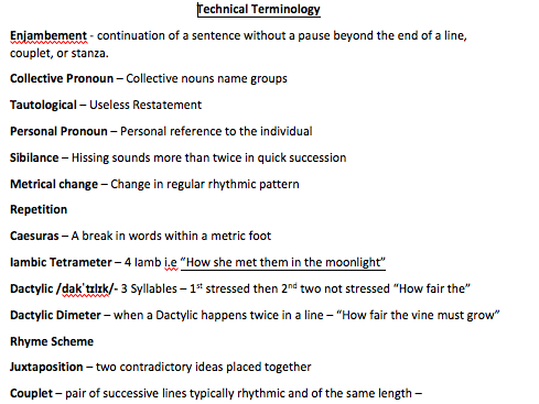 Poetry Analysis - Technical Terminology