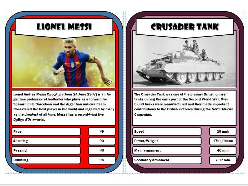 Top Trump Cards Template5 Big Size 4 Stats Publisher