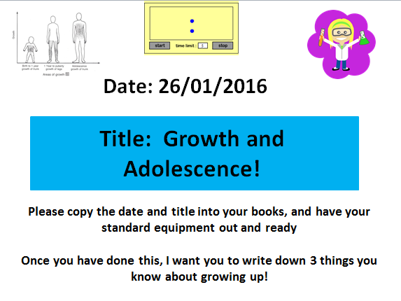 Growth and Adolescence! A KS3 Biology lesson on Puberty and Growth