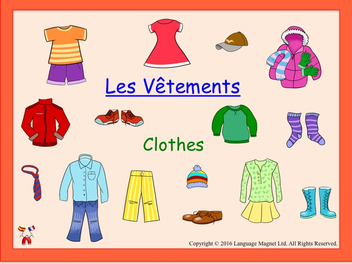 French Clothes Presentation, Bingo Game and Audio QR Code Vocabulary Sheet