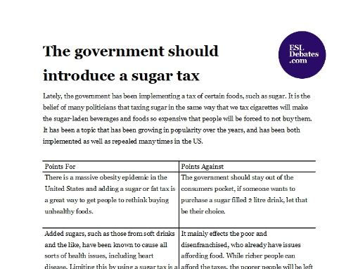 Debate Lesson Plan - The government should introduce a sugar tax