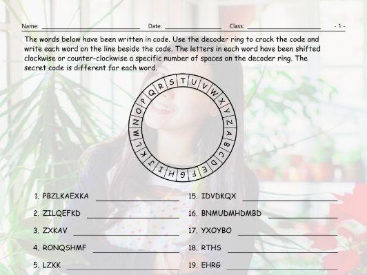 Stores-Shops Decoder Ring Worksheet