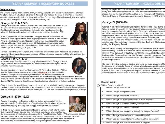 Year 7 Summer 1 Homework booklet HISTORY