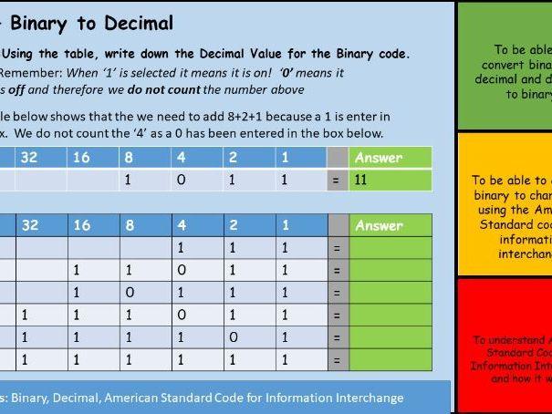 Binary - ASCII and Binary to Decimal