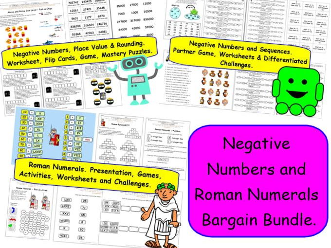 Negative Numbers and Roman Numerals Bargain Bundle