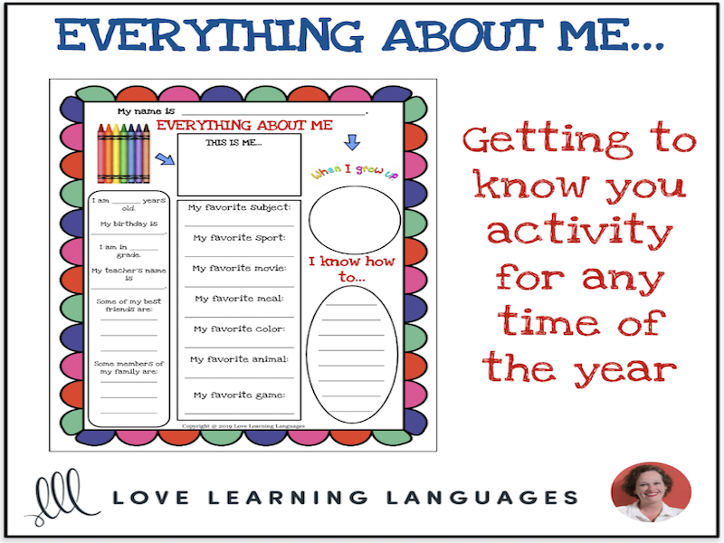 All About Me Activity - 1 Page Printable
