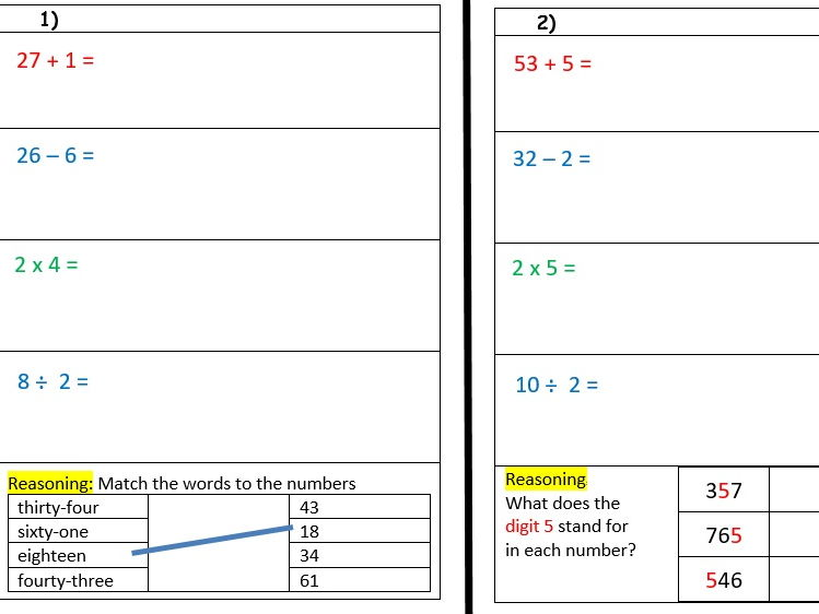 Year 3, 5-minute warm up tasks with 4 operations, reasoning and problem solving- Autumn 1 week 5