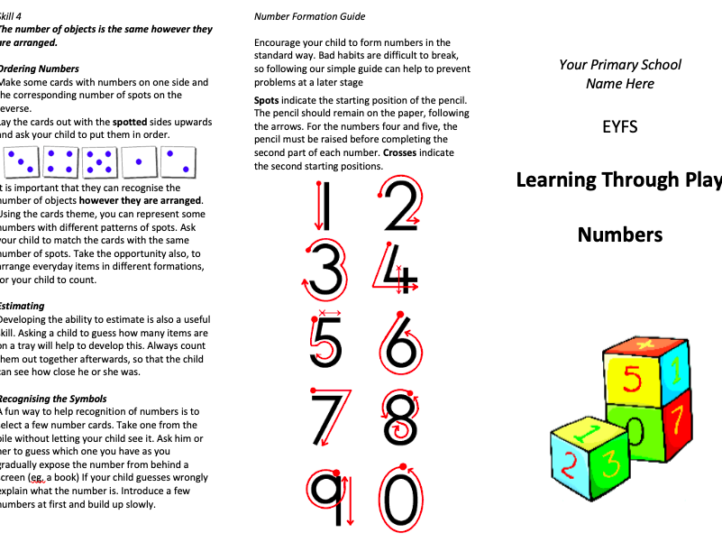 EYFS Numbers Leaflet for Parents