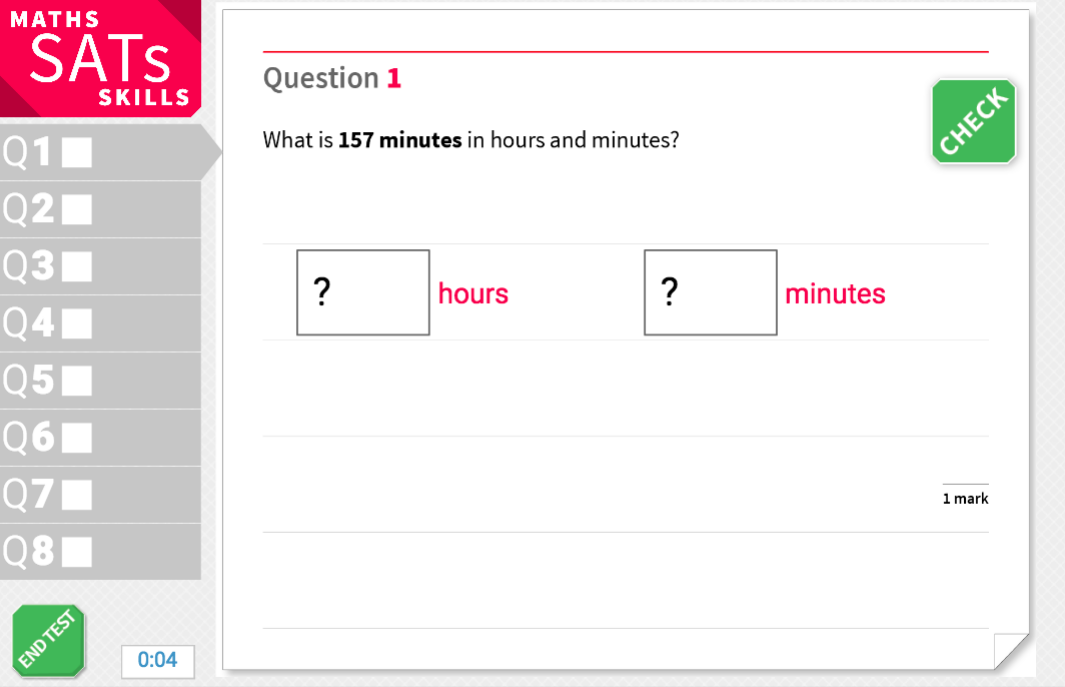 Convert between minutes and hours - KS2 Maths Sats Reasoning - Interactive Exercises