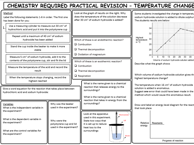AQA GCSE Combined Science trilogy chemistry paper 1 required practical revision sheets WITH ANSWERS