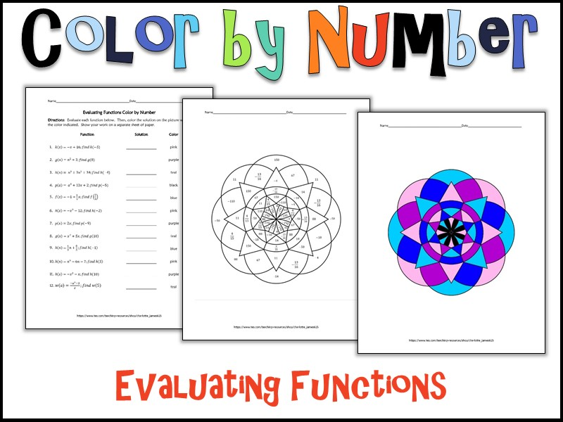 Evaluating Functions Color by Number by charlottejames615 – Evaluating Functions Worksheet