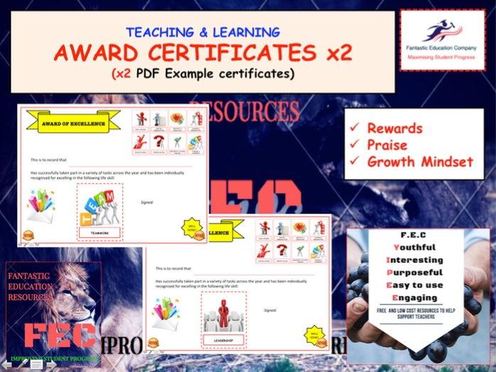 Award Celebration Certificates x2