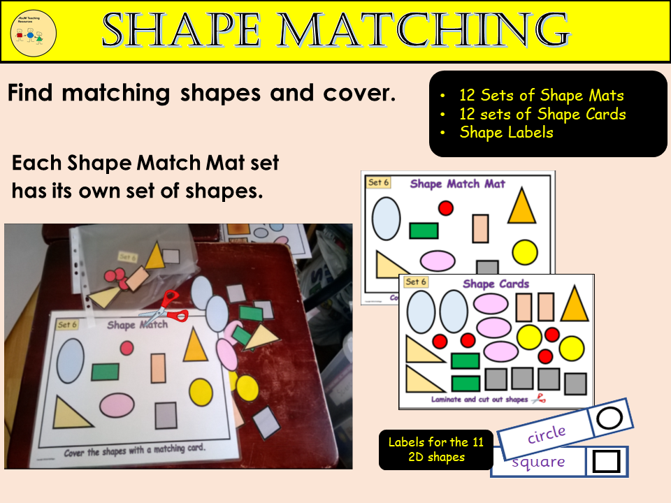Shape to Shape Match - 2D Shapes, Shape Mat Shape Cards and Labels Practical Fun Activity