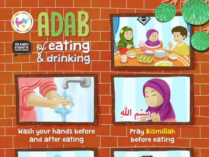 Islamic Etiquette Poster 01 - Adab of Eating and Drinking
