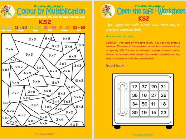 Funkie Munkie's Multiplication Jigsaw and Open Safe Activity