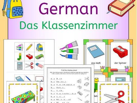German Classroom - Das Klassenzimmer vocabulary activities, puzzles and games