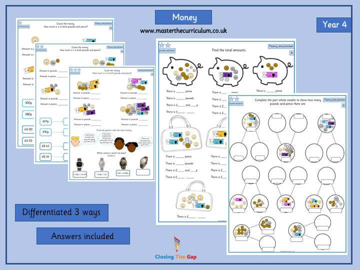 Year 4- White Rose differentiated worksheets- money week 1