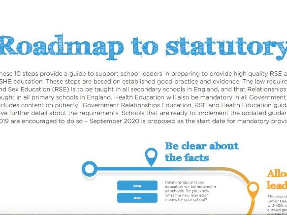 Roadmap to statutory RSE - from Sex Education Forum and PSHE Association