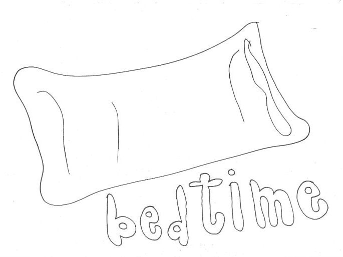 Bedtime: Daily Routine Colouring Page