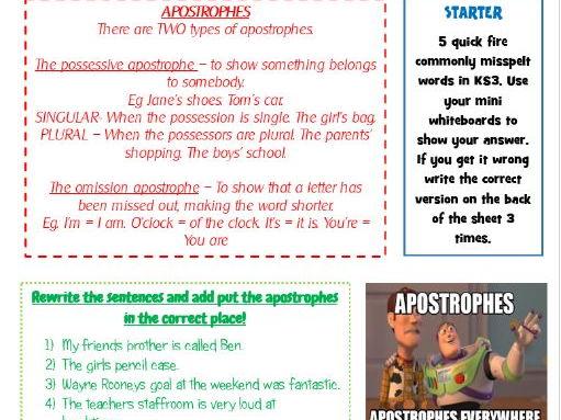Apostrophe lesson ks3