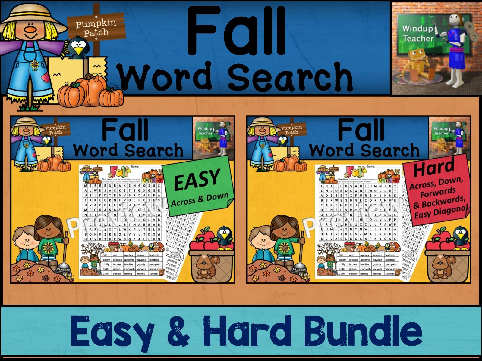 Fall Word Search BUNDLE | Easy and Hard Bundle
