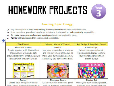 Homework Projects - Energy (Light, Electricity and Sound)