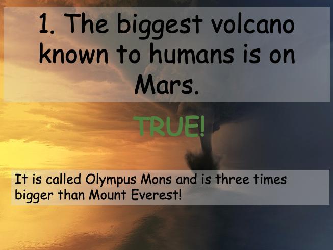 Extreme Earth True or False Quiz