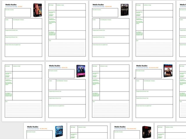 TV Crime Drama Case Study Worksheet (x7 examples!) (Word Doc) A4