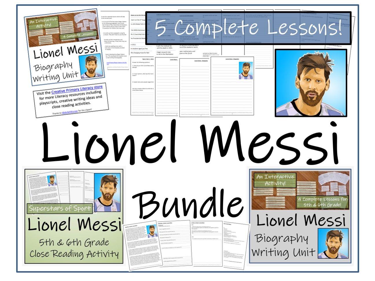 UKS2 Literacy - Lionel Messi Reading Comprehension & Biography Bundle