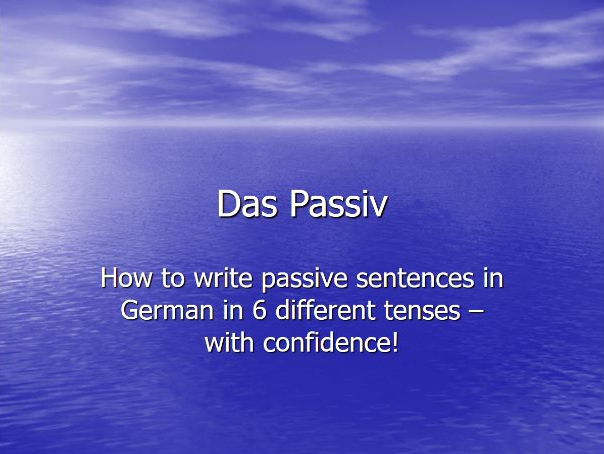 German grammar - forming the passive voice