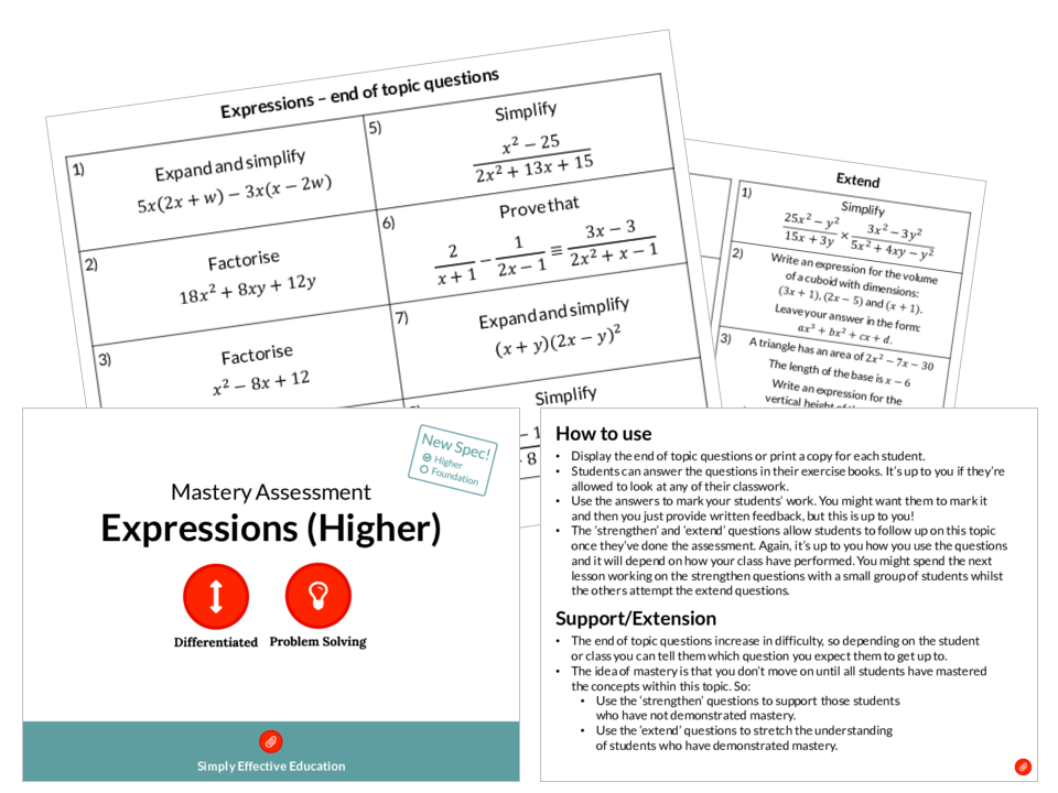 Expressions (Higher) Mastery Assessment